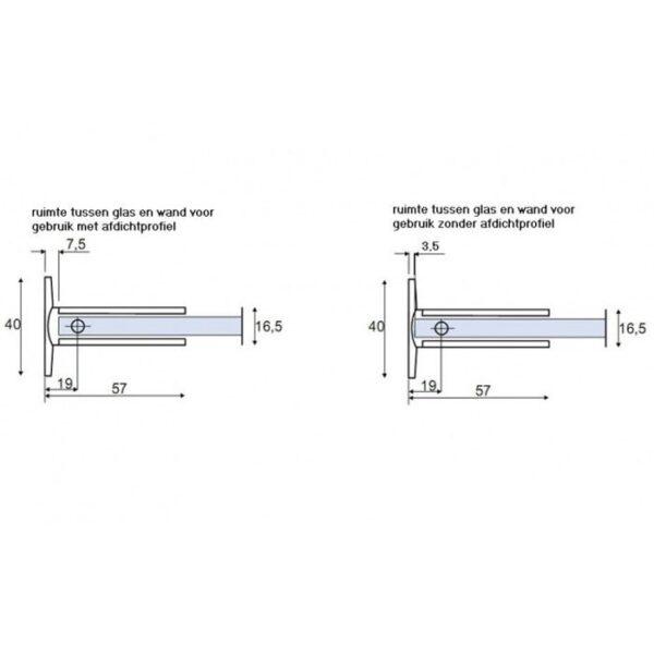 douche scharnier B-100 serie met en zonder afdichtingsprofiel