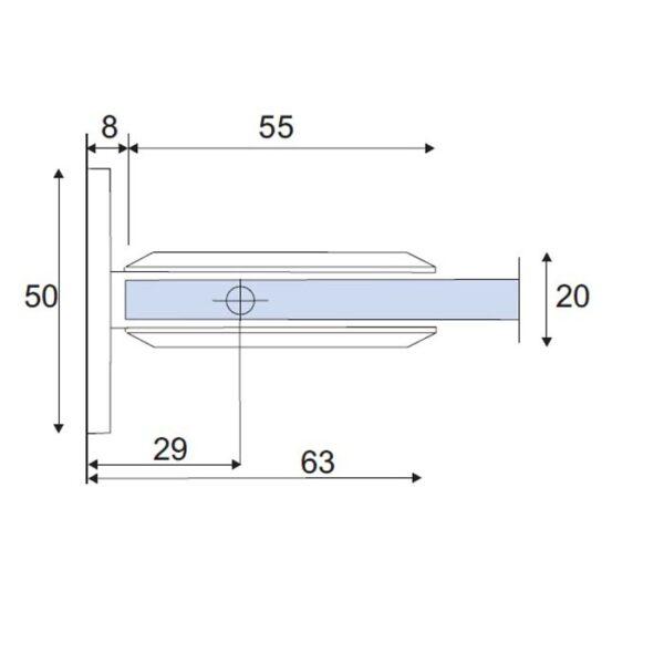 douchescharnier B-400 wand-glas afmetingen
